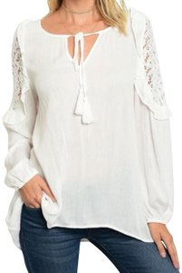 Tassels N Lace Top White
