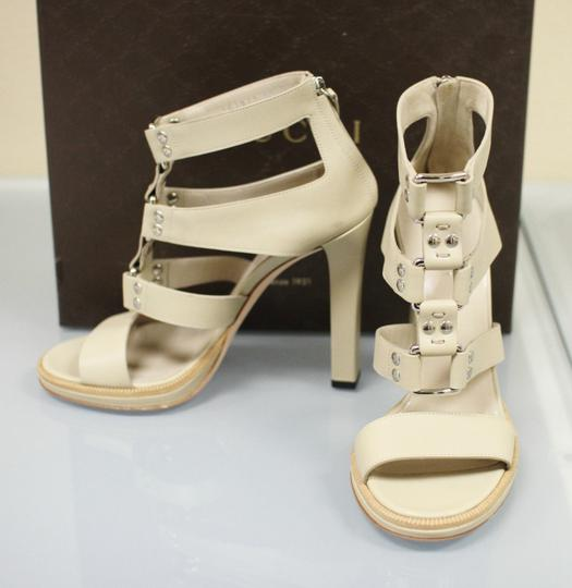 Gucci Gladiator Leather Pumps Oatmeal Platforms Image 1
