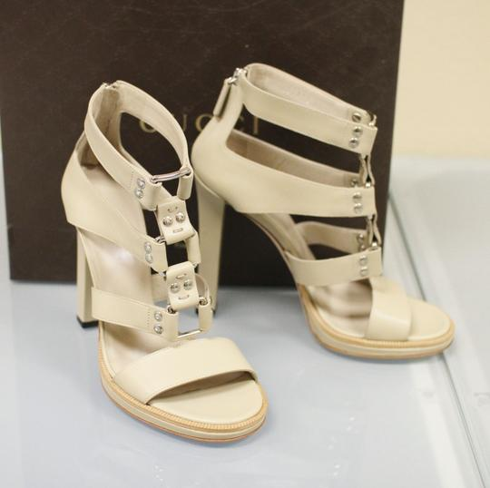 Gucci Gladiator Leather Pumps Oatmeal Platforms Image 2