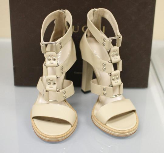 Gucci Gladiator Leather Pumps Oatmeal Platforms Image 3