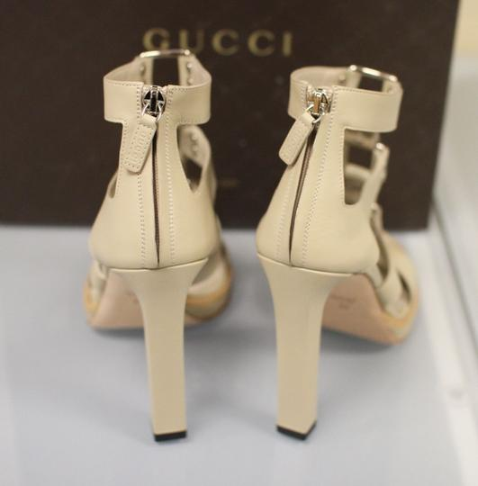 Gucci Gladiator Leather Pumps Oatmeal Platforms Image 4