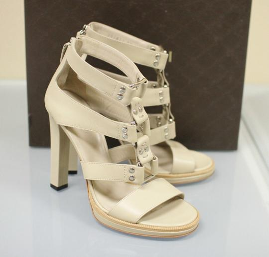 Gucci Gladiator Leather Pumps Oatmeal Platforms Image 5
