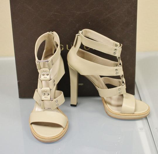 Gucci Gladiator Leather Pumps Oatmeal Platforms Image 6