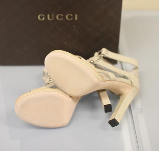 Gucci Gladiator Leather Pumps Oatmeal Platforms Image 7