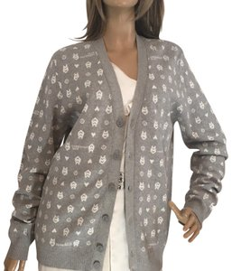 Love Moschino Cotton V-neck Front Button Long Sleeve Logo Cardigan
