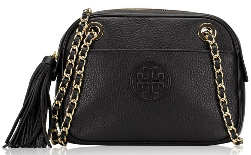 75991aaa7e6 Tory Burch Bombe Chain Black Pebbled Leather Cross Body Bag
