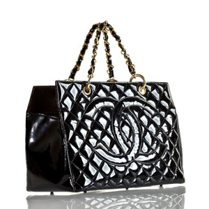 Chanel Gst Nicole Richie Vintage Patent Leather Tote in Black