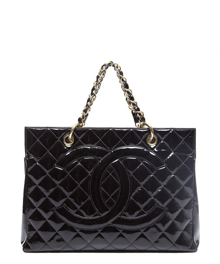 Chanel Gst Nicole Richie Vintage Patent Leather Tote in Black Image 1