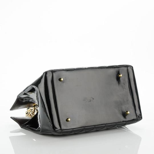 Chanel Gst Nicole Richie Vintage Patent Leather Tote in Black Image 3