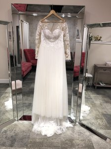 Stella York Ivory Nude Lace & Tulle 6646 Casual Wedding Dress Size 8 (M)