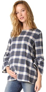 Hatch Collection Top Blue and white plaid