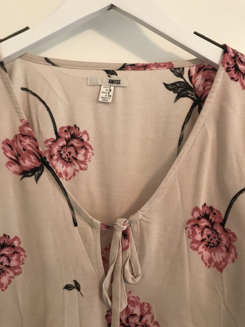 Amuse Society Flower Flowered Boho Bohemian Top cream and pink Image 3