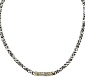 "Lagos Lagos Sterling Silver 18K 16"" .61tcw Diamond Caviar Necklace"