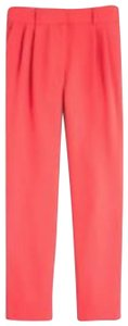 J.Crew Drapery Pleat Front Neon Coral Trouser Pants red