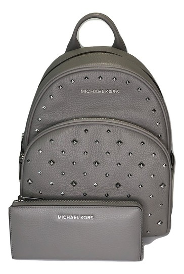 Preload https://img-static.tradesy.com/item/24388380/michael-kors-abbey-and-matching-wallet-ash-grey-studded-leather-backpack-0-0-540-540.jpg