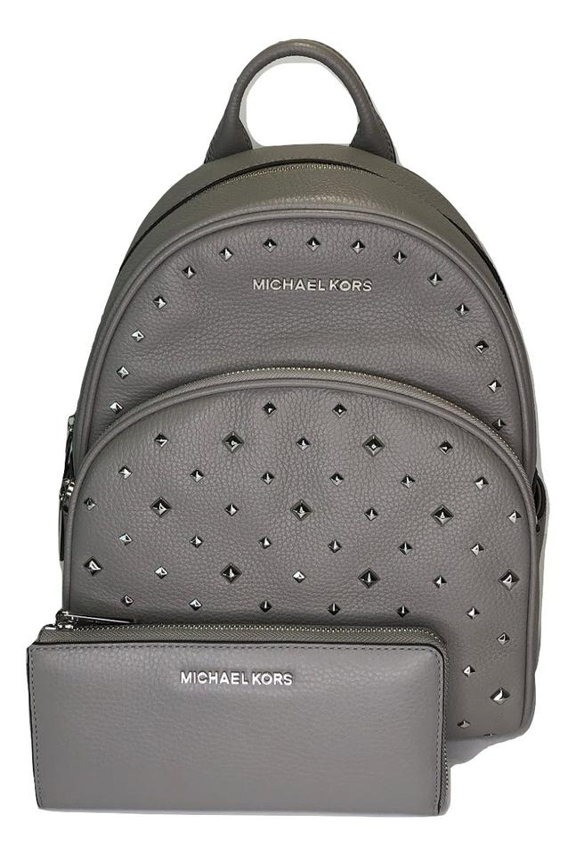 f6e9ace3893a Michael Kors Abbey and Matching Wallet Ash Grey Studded Leather ...