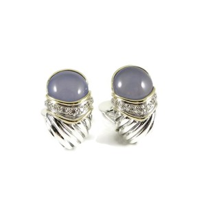 David Yurman David Yurman Sterling Silver 18K Large Chalcedony Diamond Earrings