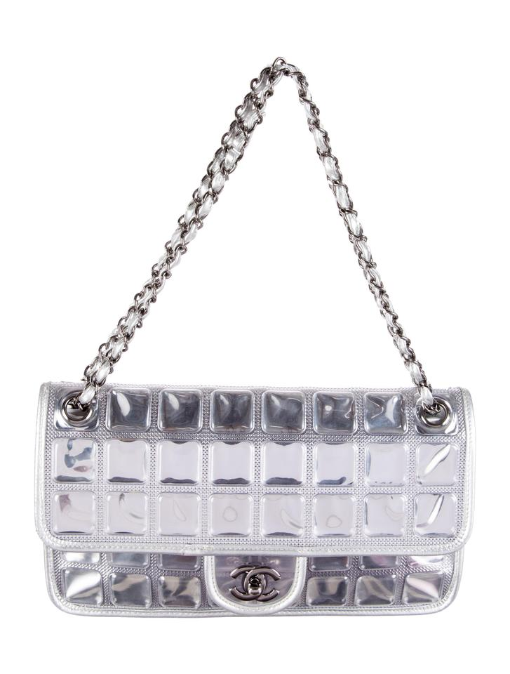 3e6369bd639f Chanel Classic Flap Ice Cube Metallic Silver Pvc Cross Body Bag ...