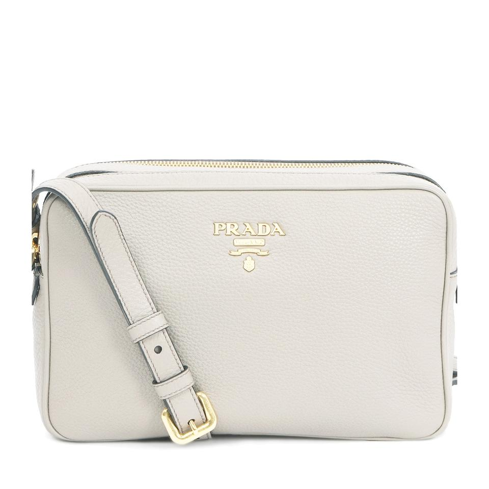 Prada Women s Vitello Phenix Hand 1bh079 White Leather Cross Body ... d225d86920a7b