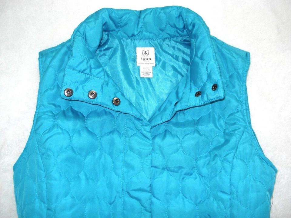 7a361fab Izod Blue Turquoise Teal Quilted Pockets Sleeveless Jacket L P Lp Vest Size  12 (L) - Tradesy