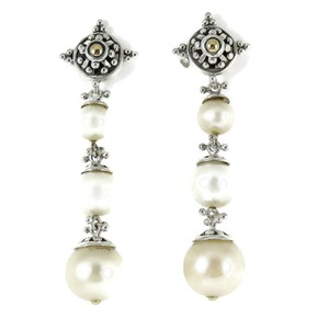 John Hardy John Hardy Sterling Silver 18K Long Pearl Jaisalmer Drop Earrings