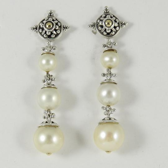 John Hardy John Hardy Sterling Silver 18K Long Pearl Jaisalmer Drop Earrings Image 11