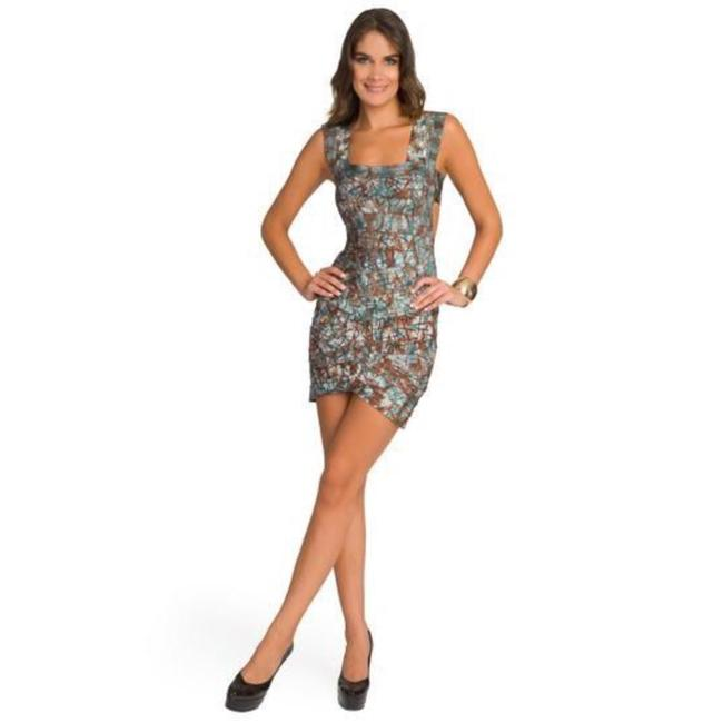 Item - Multicolor Engineered Batik Square Neck Bandage Short Night Out Dress Size 2 (XS)