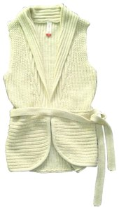 No Boundaries NO BOUNDARIES Ivory Knitted BELTED Sleeveless VEST SWEATER CARDIGAN S