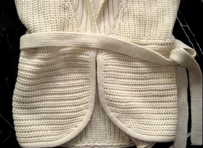 No Boundaries NO BOUNDARIES Ivory Knitted BELTED Sleeveless VEST SWEATER CARDIGAN S Image 1