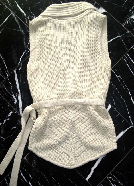 No Boundaries NO BOUNDARIES Ivory Knitted BELTED Sleeveless VEST SWEATER CARDIGAN S Image 6