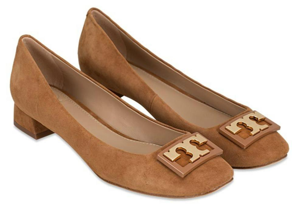 493a57f96ceaee Tory Burch Royal Tan Gigi Sold Out Suede Heel Pumps Size US 7 ...