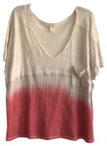 Free People V-neck Sleeve Ombre Pocket Linen T Shirt coral
