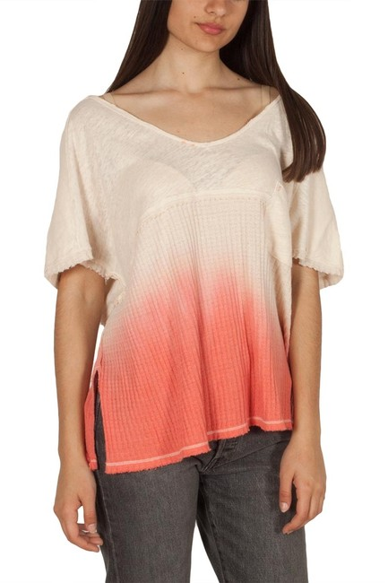 Free People V-neck Sleeve Ombre Pocket Linen T Shirt coral Image 10