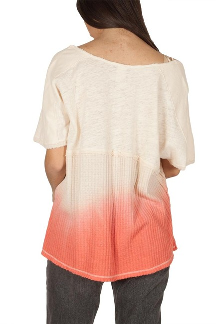 Free People V-neck Sleeve Ombre Pocket Linen T Shirt coral Image 11
