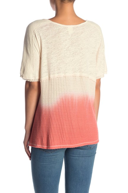 Free People V-neck Sleeve Ombre Pocket Linen T Shirt coral Image 7
