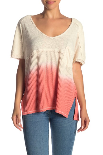 Free People V-neck Sleeve Ombre Pocket Linen T Shirt coral Image 8