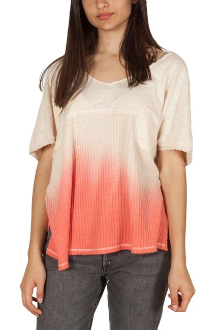 Free People V-neck Sleeve Ombre Pocket Linen T Shirt coral Image 9