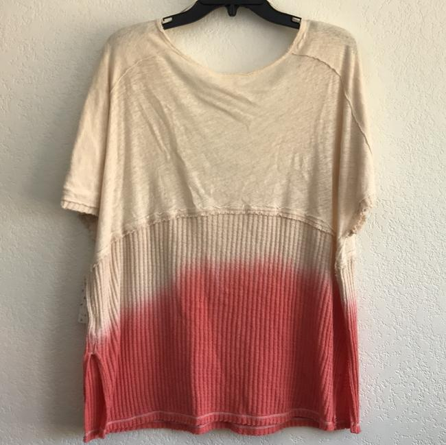 Free People V-neck Sleeve Ombre Pocket Linen T Shirt coral Image 6