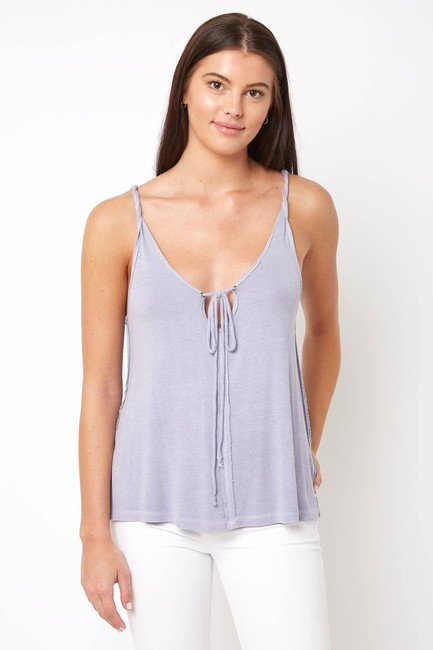 Free People Sleeveless Tie Keyhole Ribbed Relaxed Top lilac mist Image 6