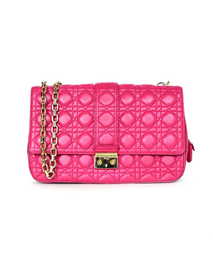 e3f7f34c29a4 Dior Christian Cannage Quilted Large Miss Flap Pink Lambskin Leather  Shoulder Bag