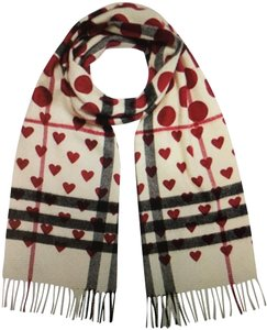 Burberry Burberry Special Edition Windsor Red Hearts/Dots OffWhite Check Scarf