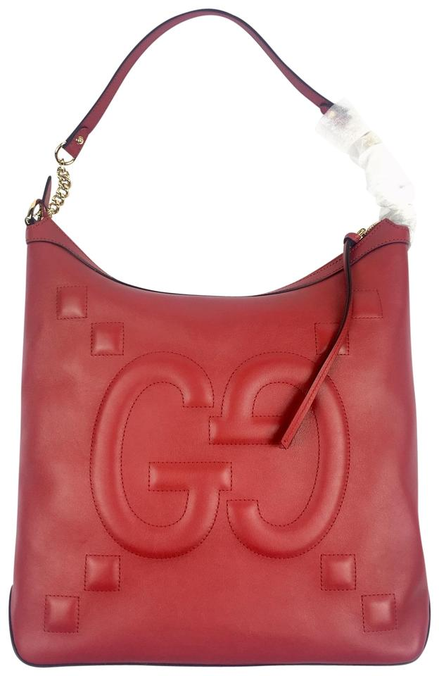 4102408c1310 Gucci #453562 Apollo Embossed Gg Calfskin Zip Top Red Leather Hobo ...