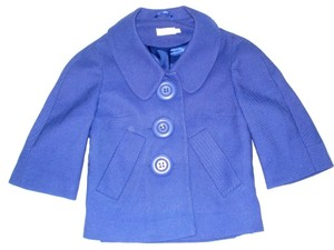 Topshop Royal Wool Swing Jacket Crop 3/4 Sleeve Blue Blazer