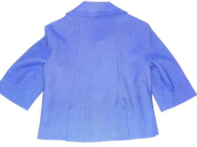 Topshop Royal Wool Swing Jacket Crop 3/4 Sleeve Blue Blazer Image 5
