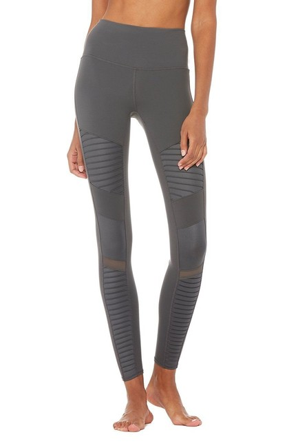 Alo High Waisted Moto Leggings in Gray Image 1