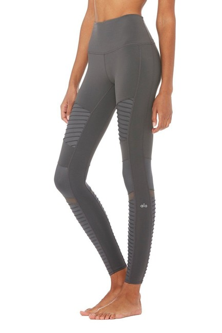 Alo High Waisted Moto Leggings in Gray Image 2