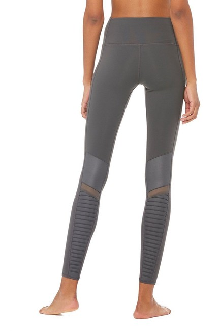 Alo High Waisted Moto Leggings in Gray Image 3