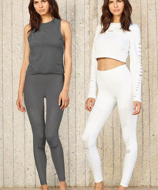 Alo High Waisted Moto Leggings in Gray Image 7