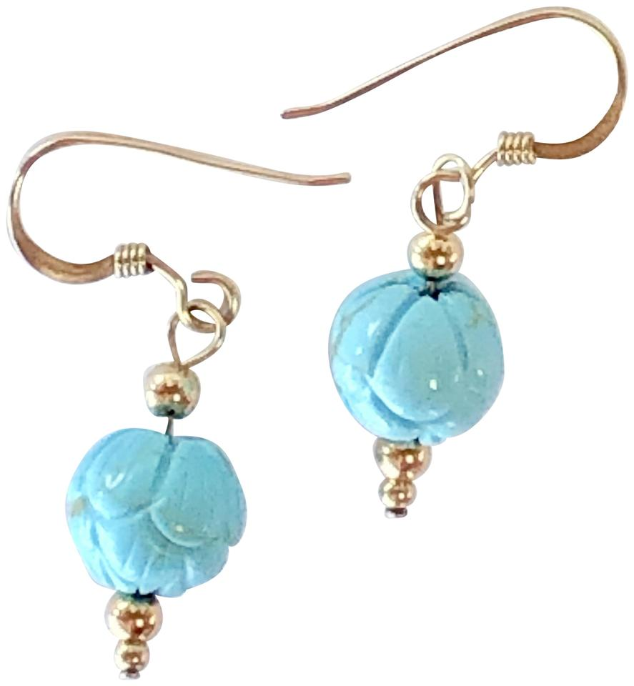 Seaglgemsbycherie 14k Gold Turquoise Earrings Carved Beads 1 Inch Drops Made In Hawaii