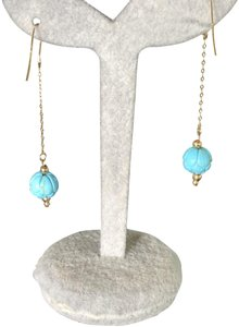 SeaglassGemsbyCherie Sleeping Beauty Turquoise 14k Gold Beaded Earrings 2 Inch Drops New